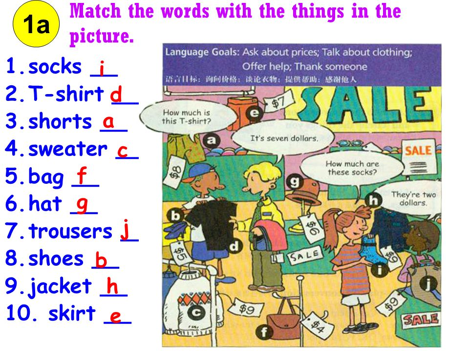 1a Match the words with the things in the picture. socks __ i