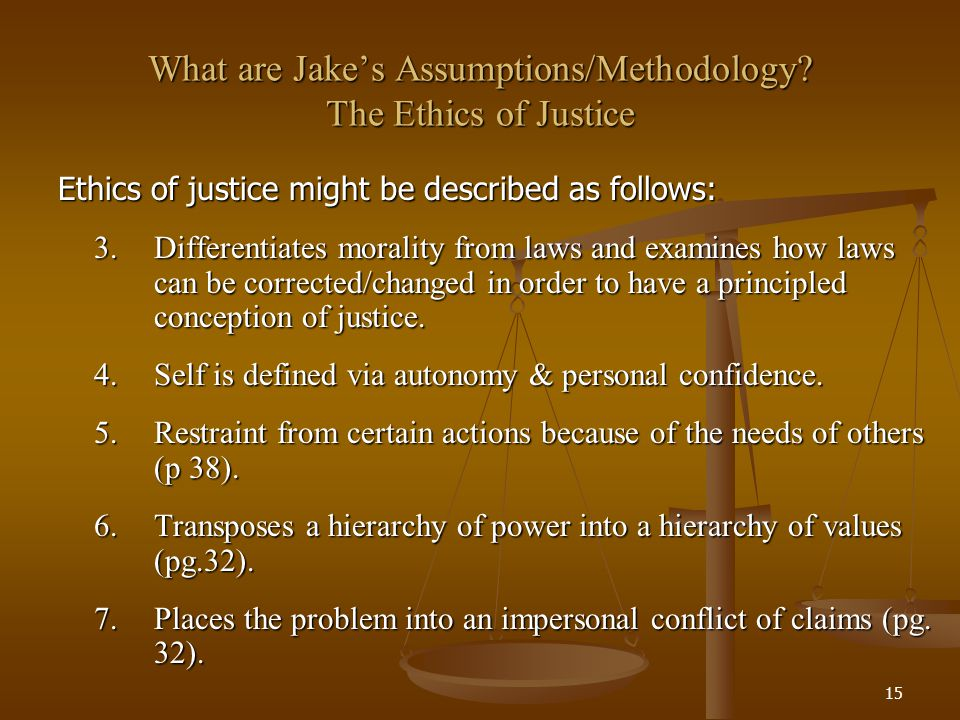 What are Jake's Assumptions/Methodology The Ethics of Justice