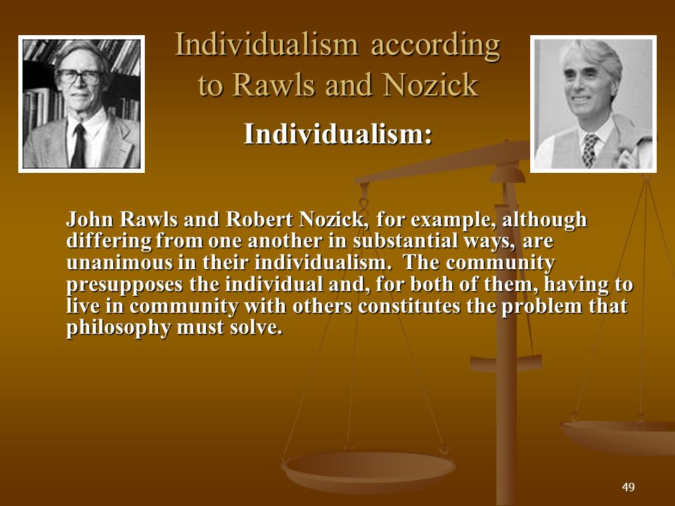 Individualism according to Rawls and Nozick