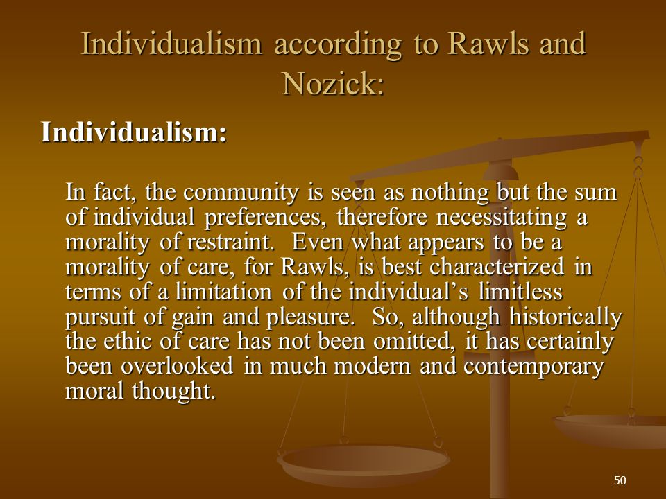 Individualism according to Rawls and Nozick: