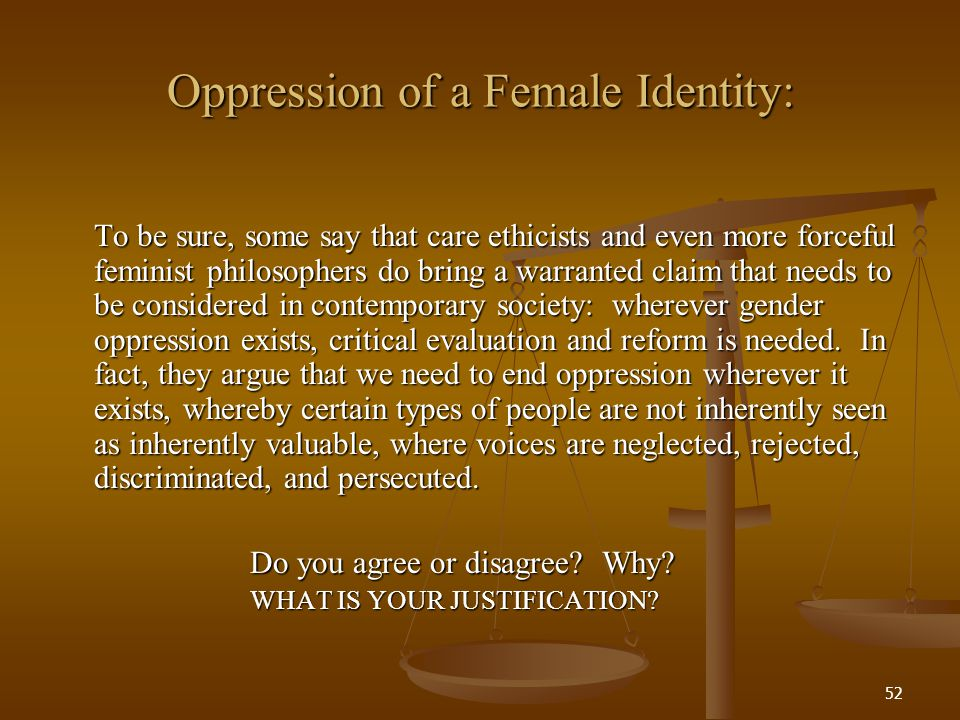 Oppression of a Female Identity: