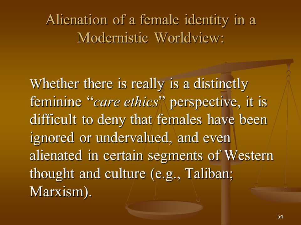 Alienation of a female identity in a Modernistic Worldview: