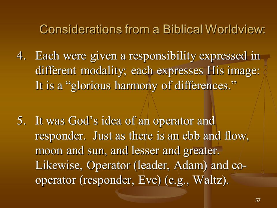 Considerations from a Biblical Worldview: