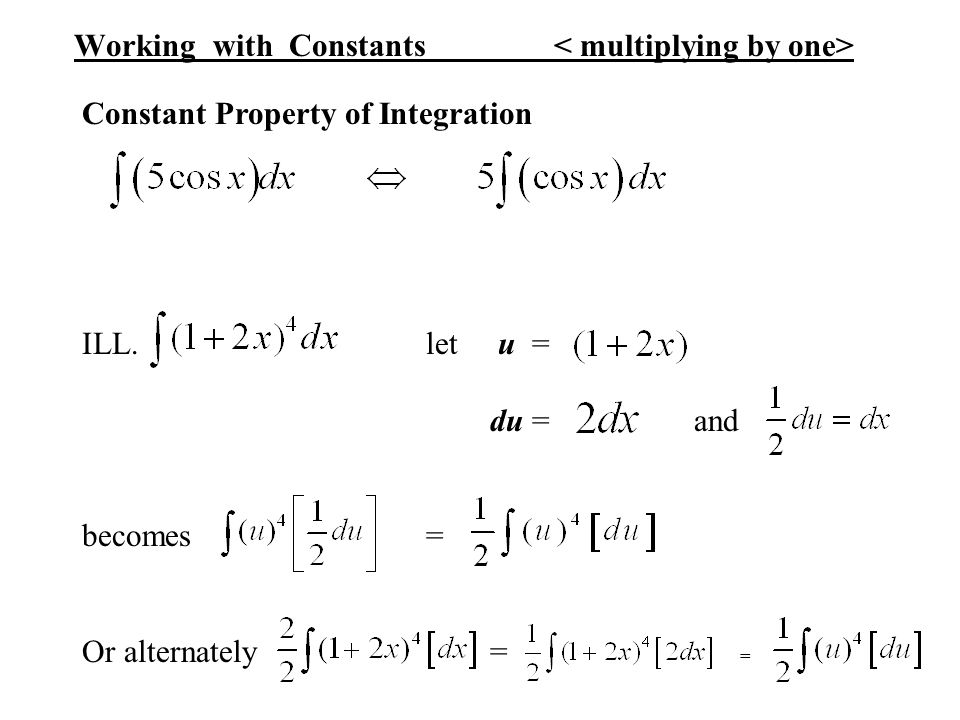 Working with Constants < multiplying by one>