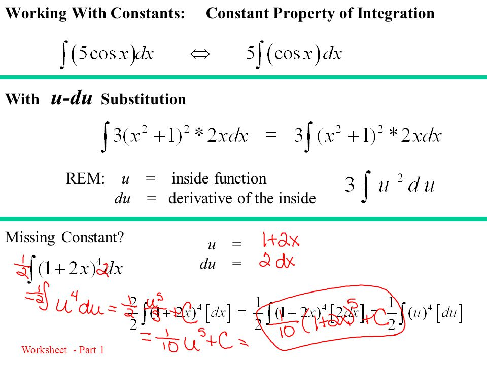 Working With Constants: Constant Property of Integration