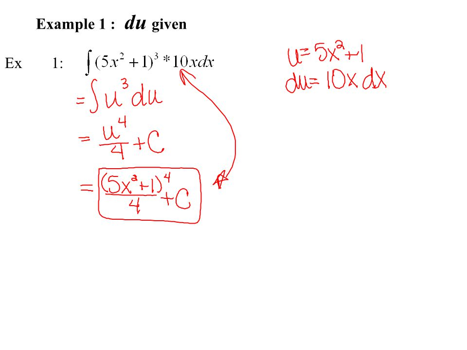 Example 1 : du given Ex 1: