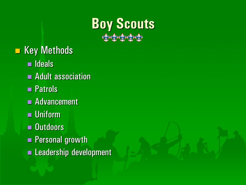Boy Scouts Key Methods Ideals Adult association Patrols Advancement