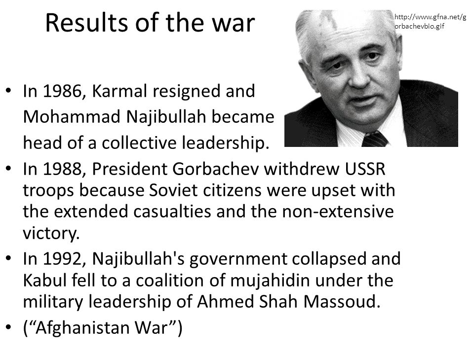 Results of the war In 1986, Karmal resigned and