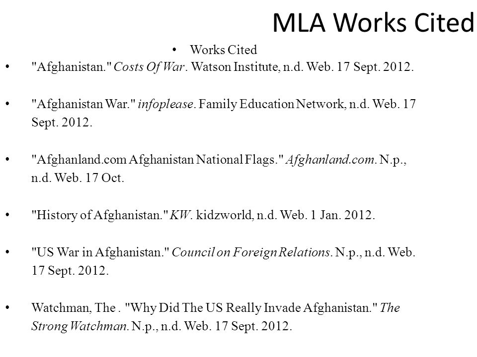 MLA Works Cited Works Cited