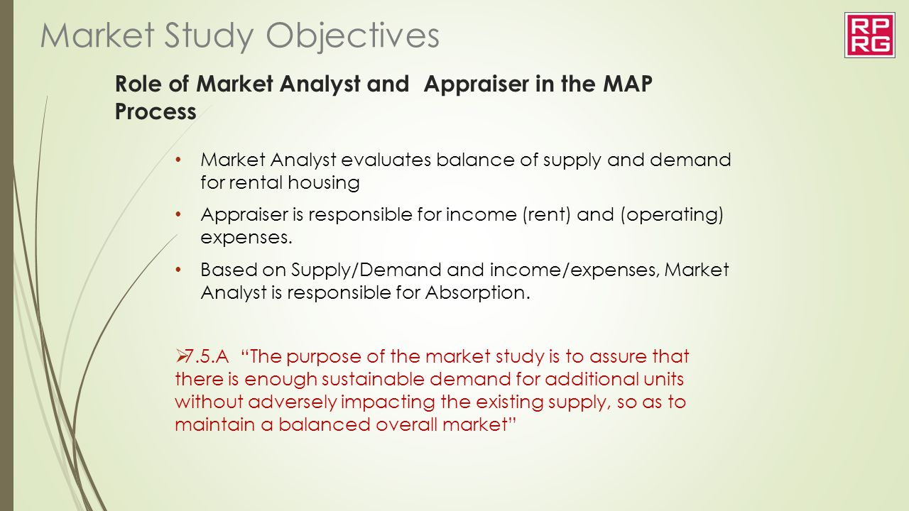 Role of Market Analyst and Appraiser in the MAP Process