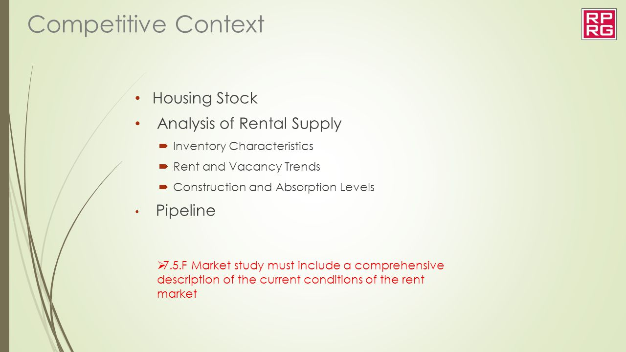 Competitive Context Housing Stock Analysis of Rental Supply