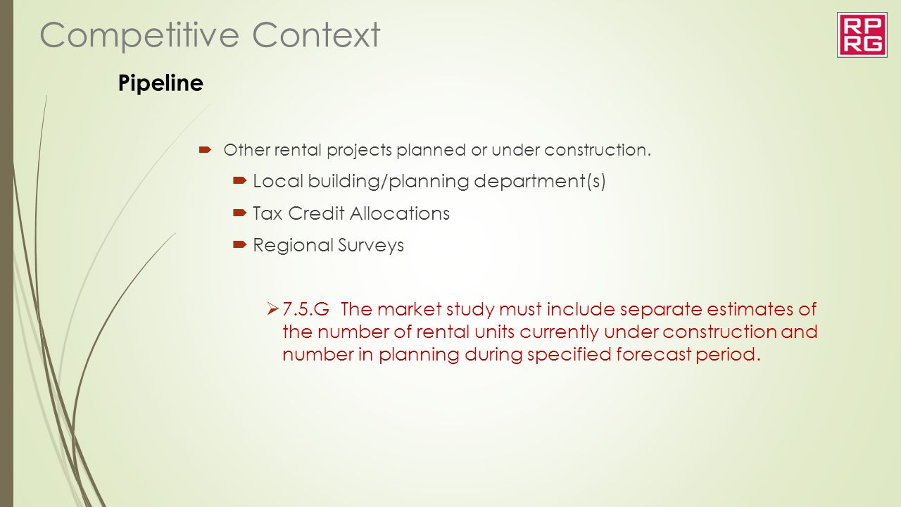 Competitive Context Pipeline Local building/planning department(s)