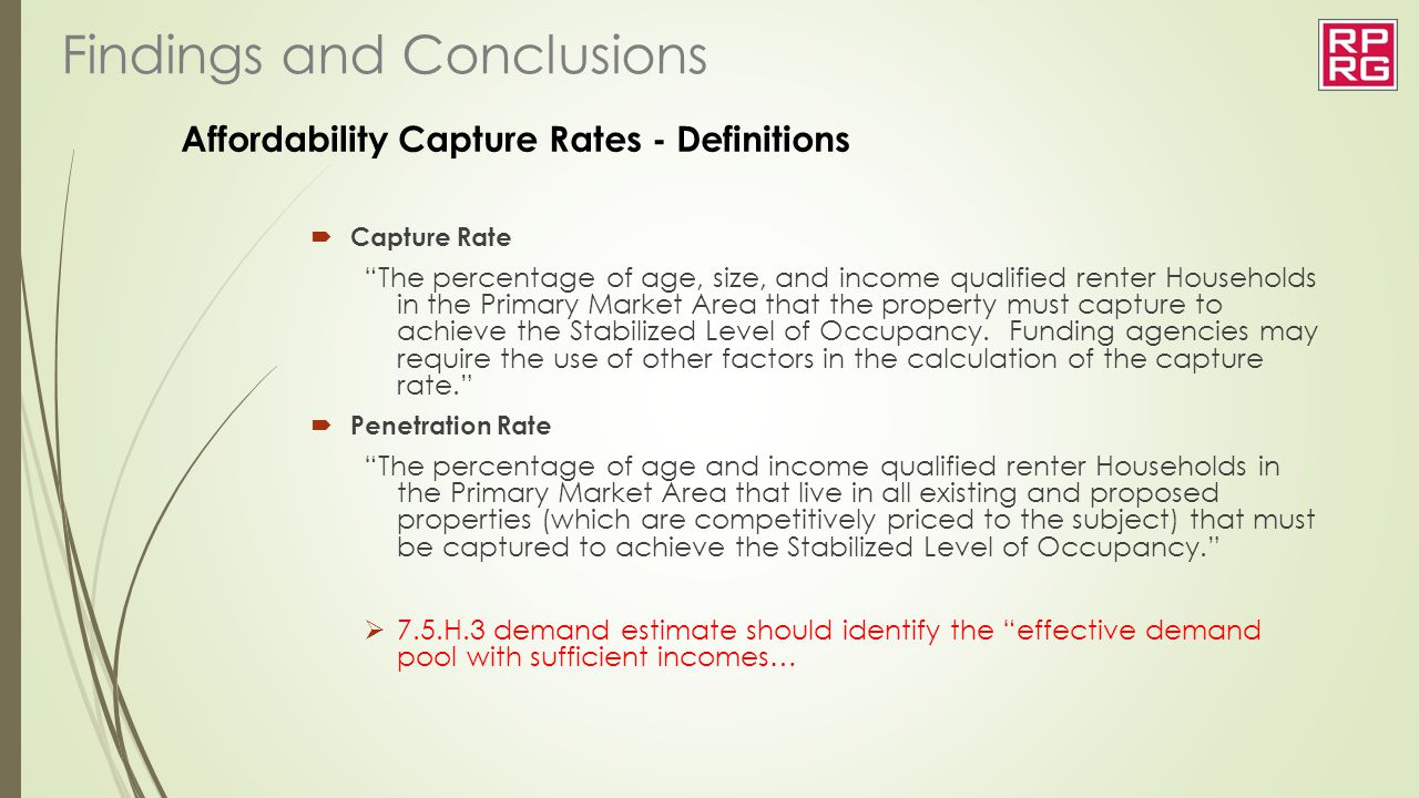 Affordability Capture Rates - Definitions