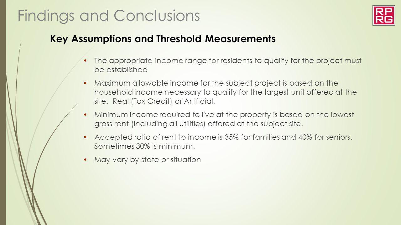 Key Assumptions and Threshold Measurements
