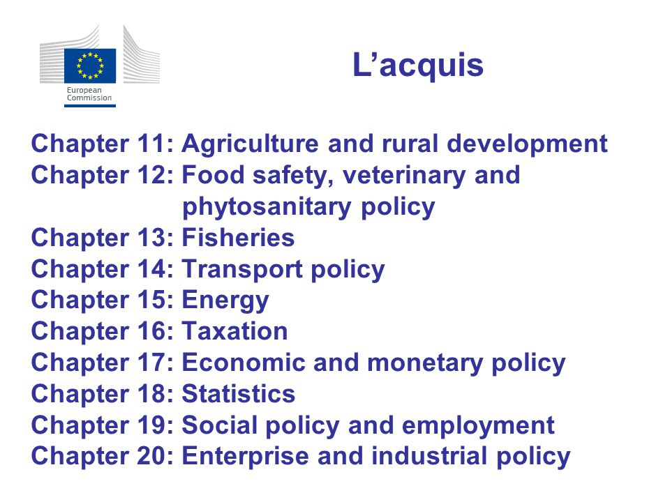 L'acquis Chapter 11: Agriculture and rural development