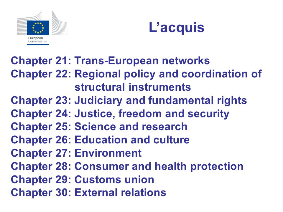L'acquis Chapter 21: Trans-European networks