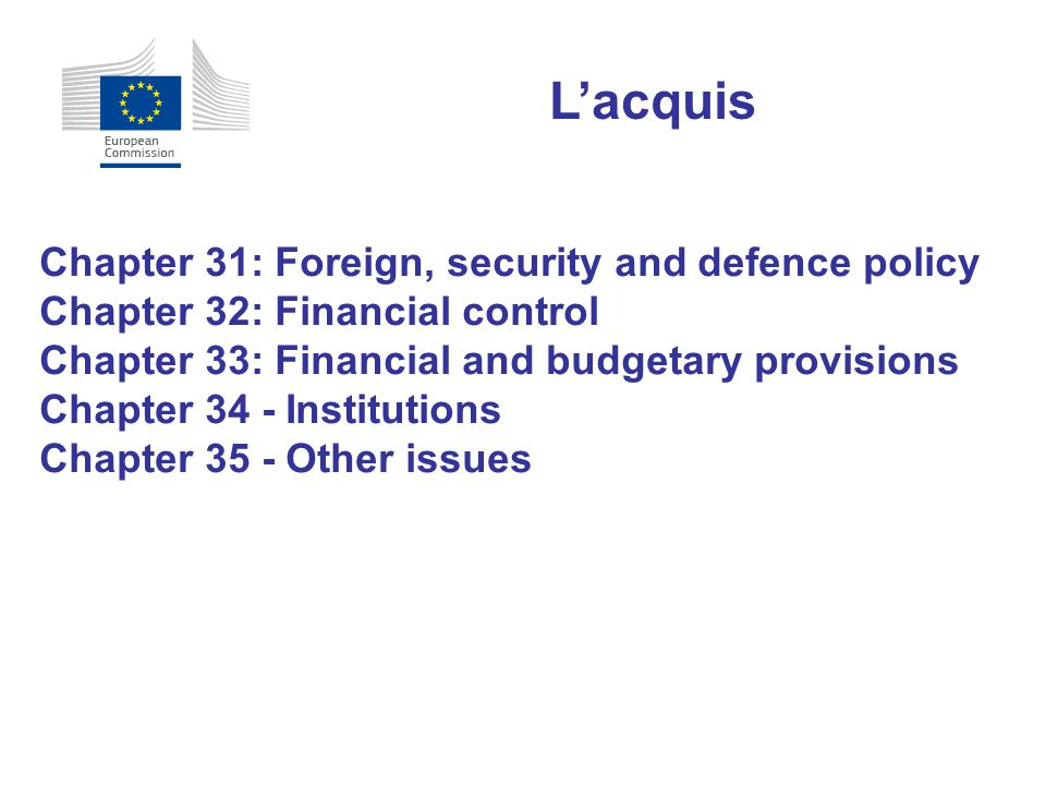 L'acquis Chapter 31: Foreign, security and defence policy