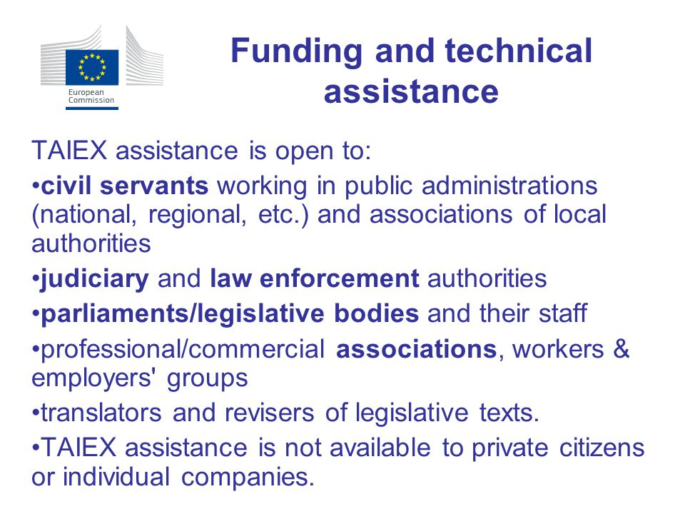 Funding and technical assistance