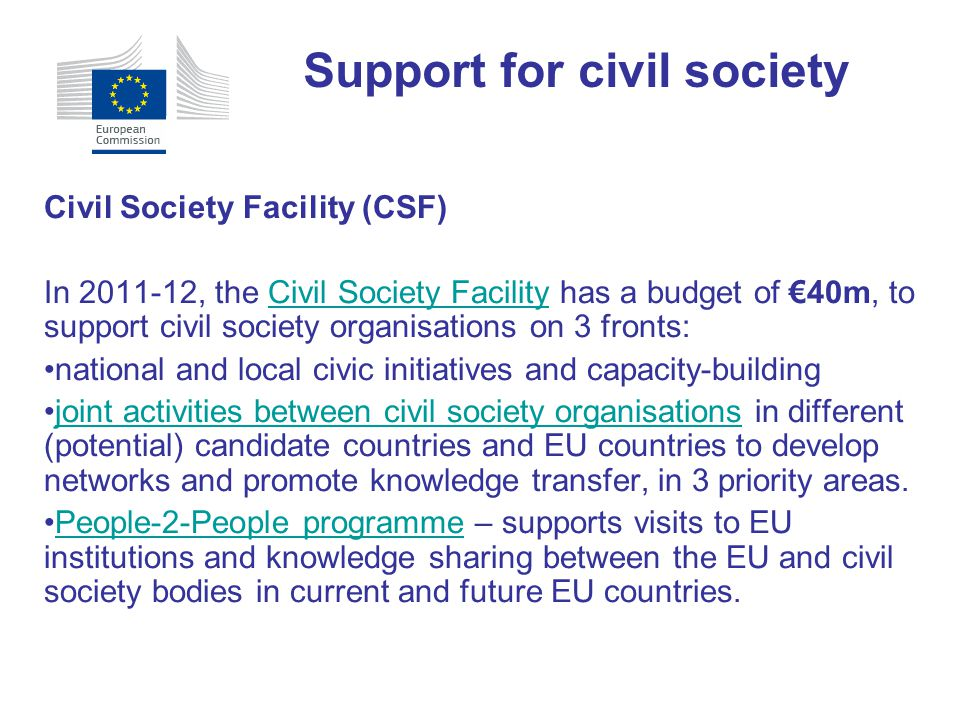 Support for civil society