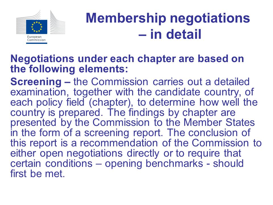 Membership negotiations