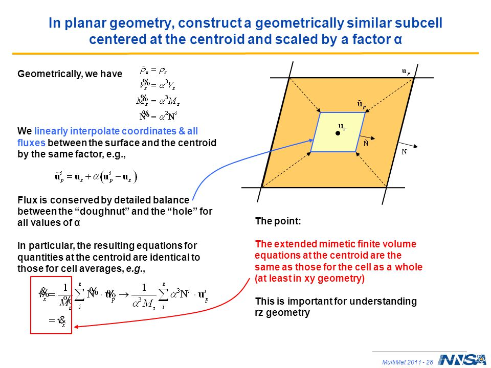 In planar geometry, construct a geometrically similar subcell centered at the centroid and scaled by a factor α
