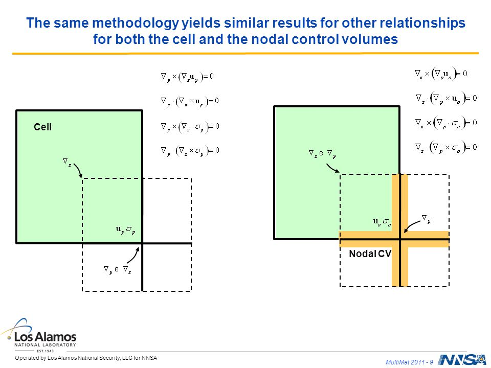The same methodology yields similar results for other relationships for both the cell and the nodal control volumes