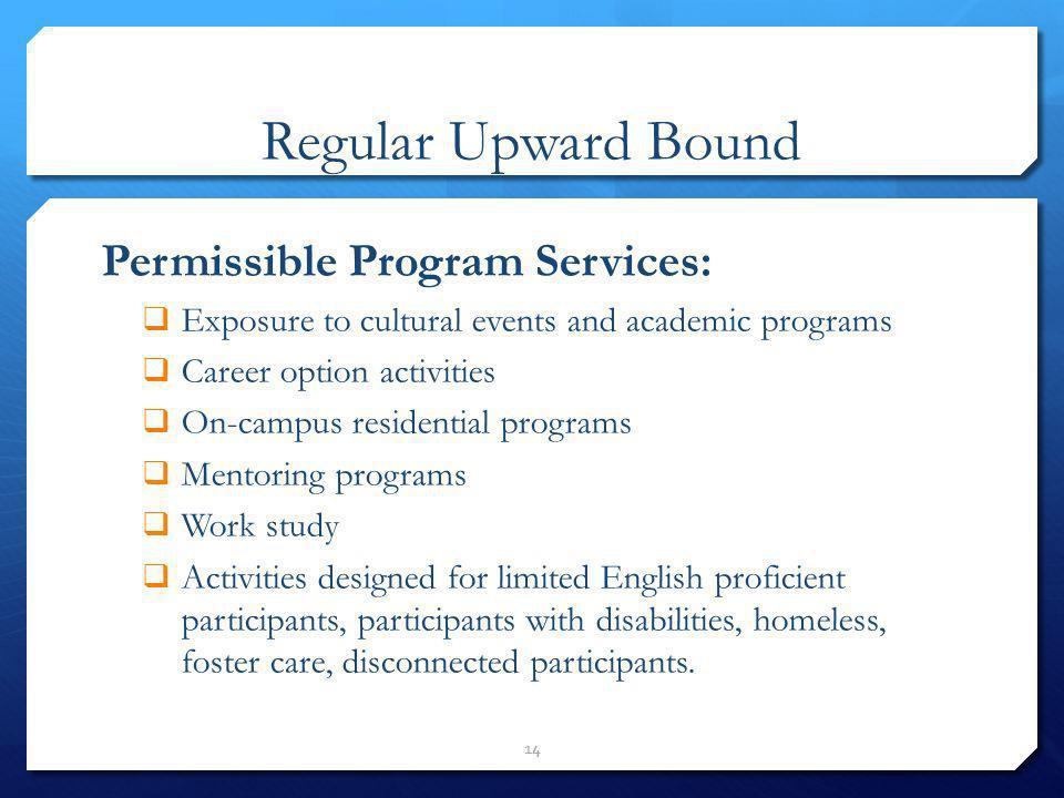 Regular Upward Bound Permissible Program Services: