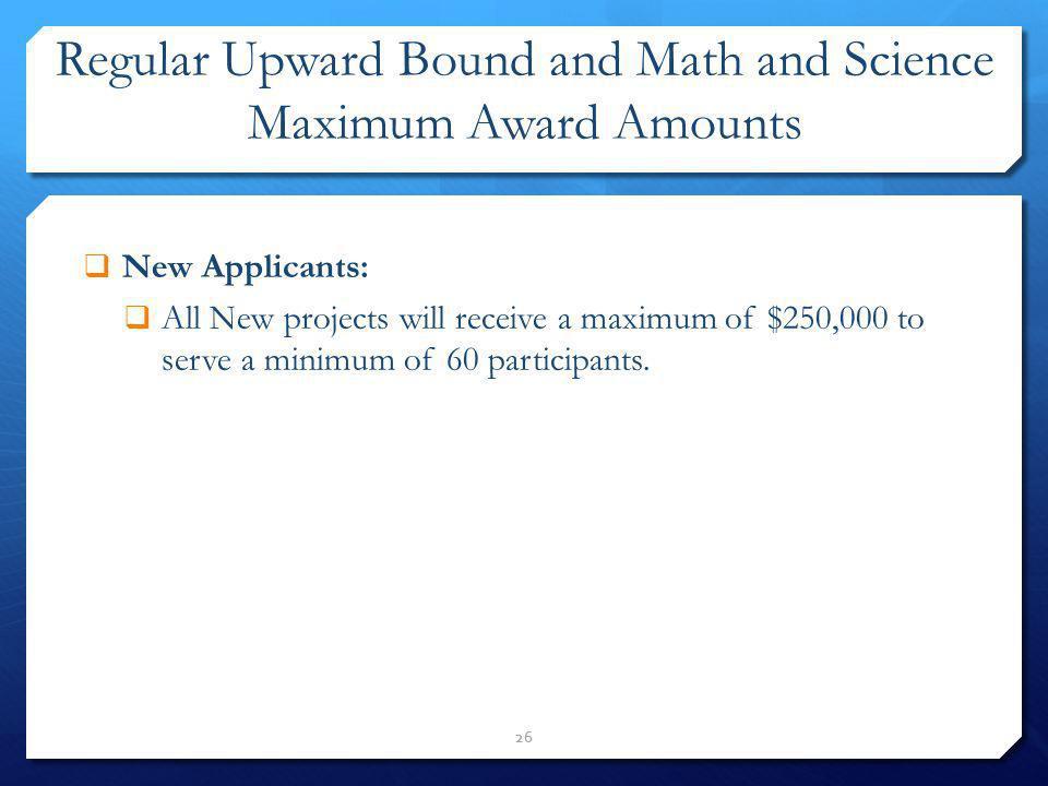 Regular Upward Bound and Math and Science Maximum Award Amounts