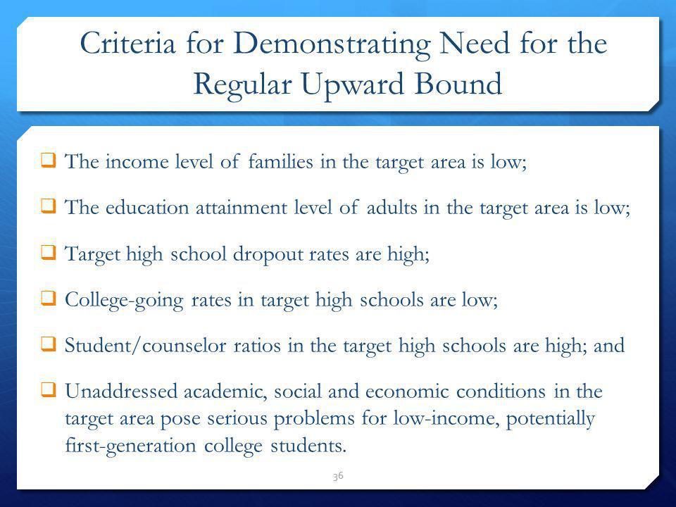 Criteria for Demonstrating Need for the Regular Upward Bound