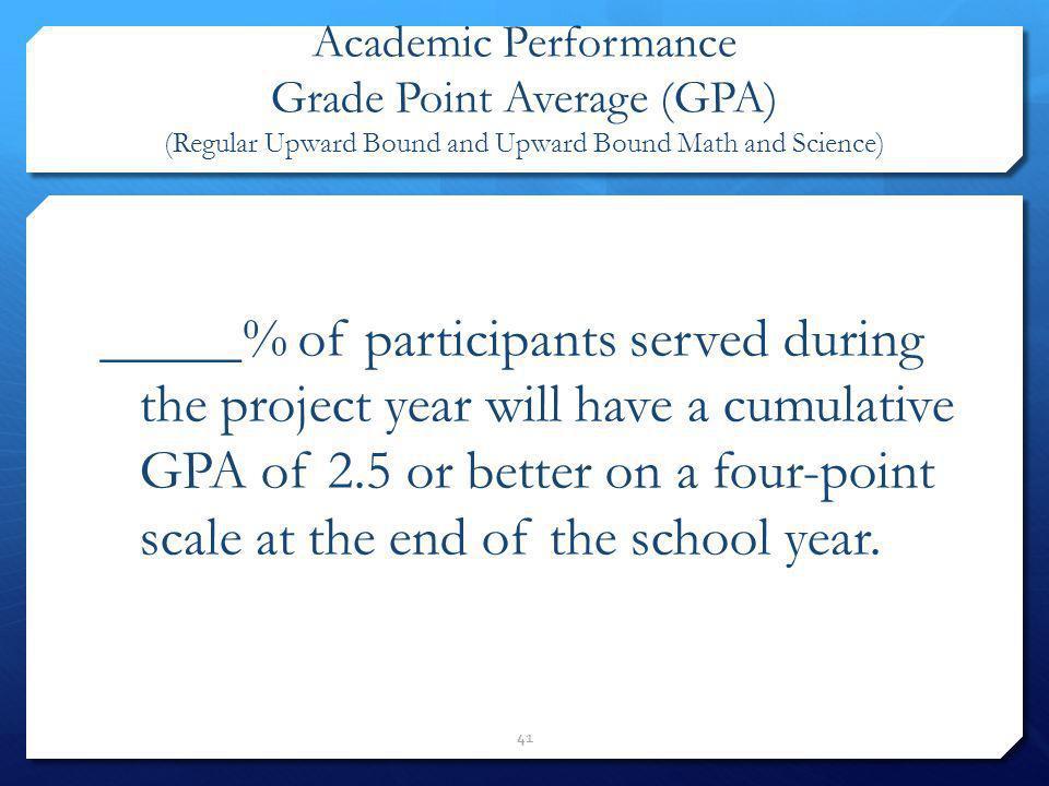 Academic Performance Grade Point Average (GPA) (Regular Upward Bound and Upward Bound Math and Science)