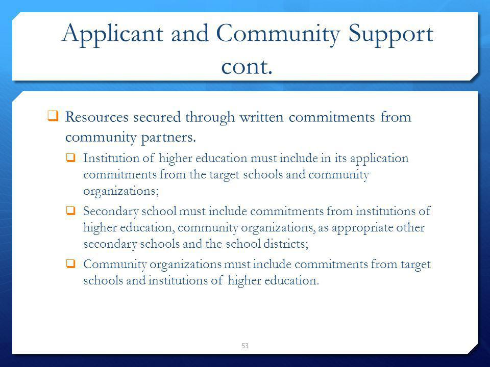 Applicant and Community Support cont.