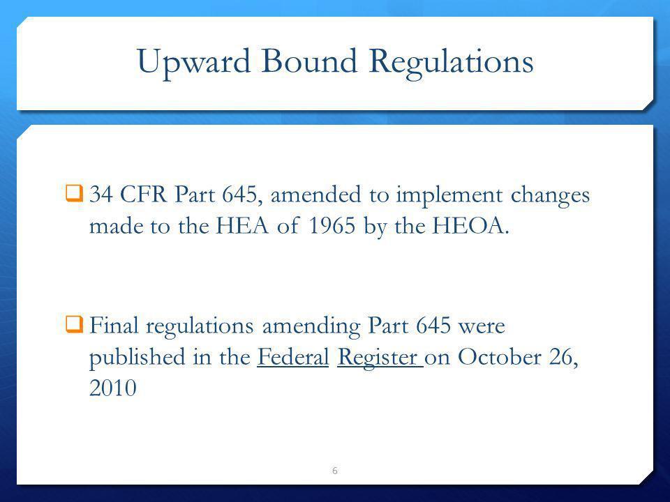 Upward Bound Regulations