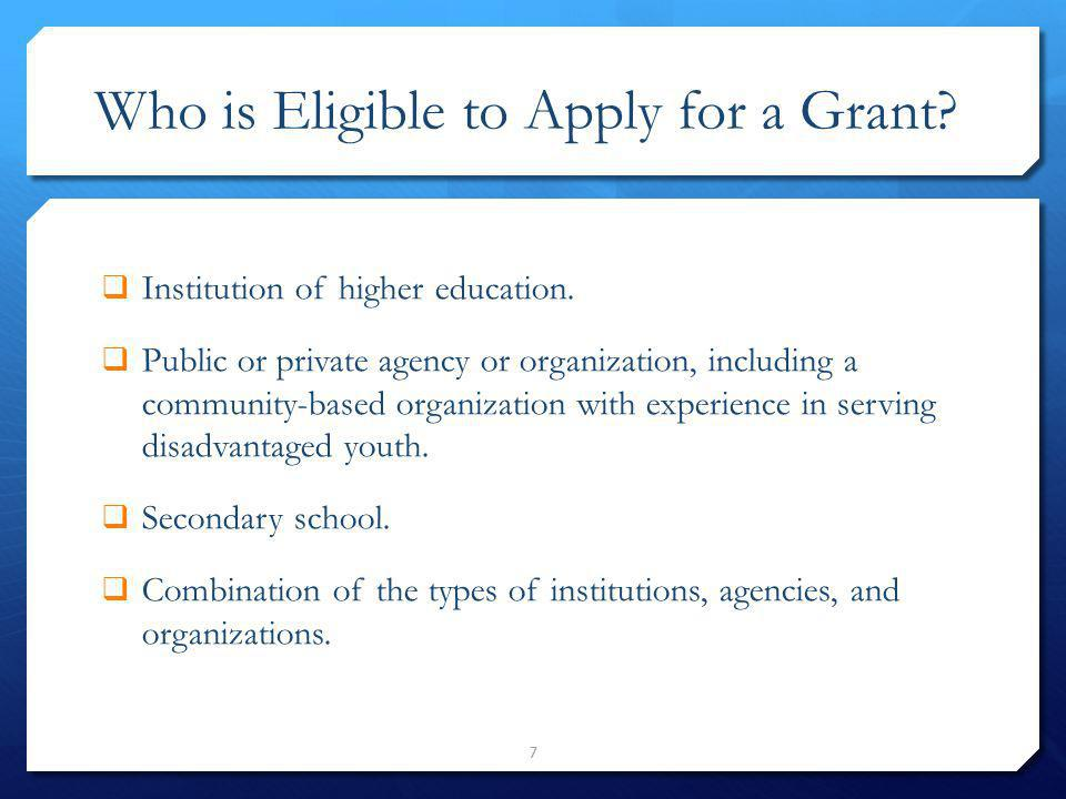 Who is Eligible to Apply for a Grant