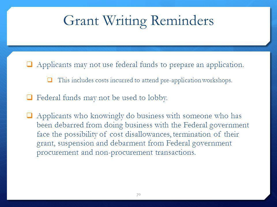 Grant Writing Reminders
