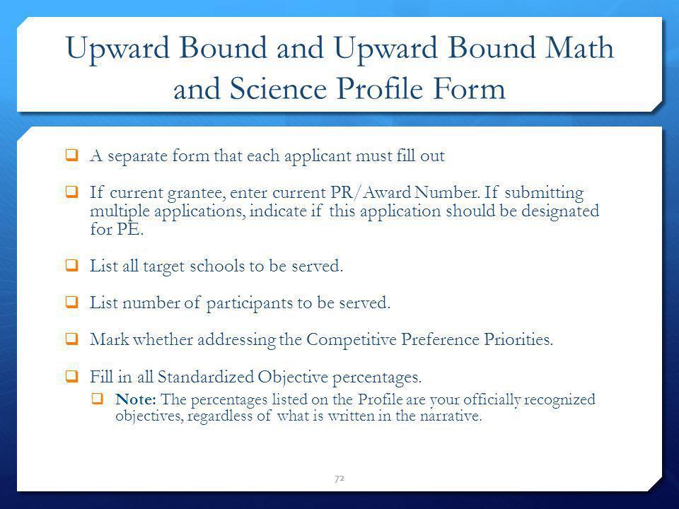 Upward Bound and Upward Bound Math and Science Profile Form