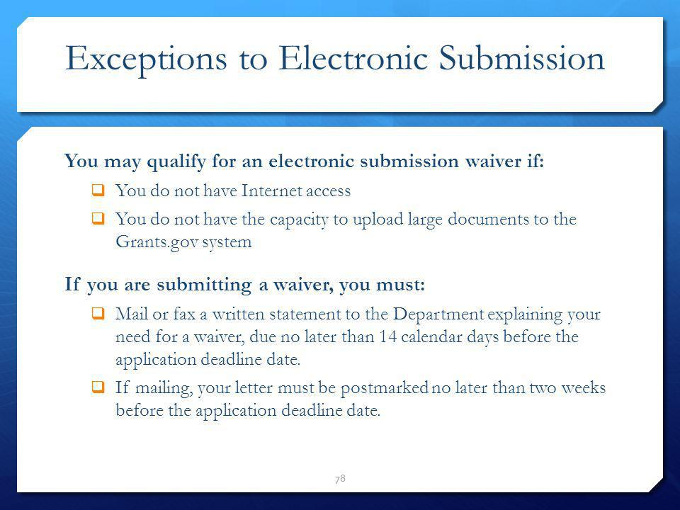 Exceptions to Electronic Submission