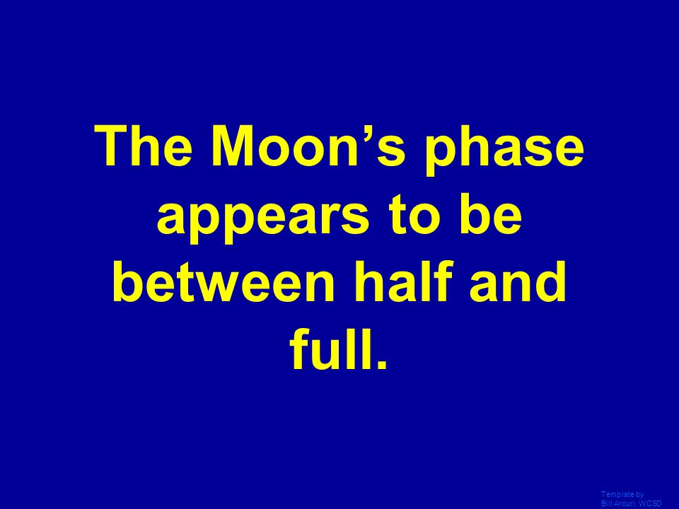 The Moon's phase appears to be between half and full.