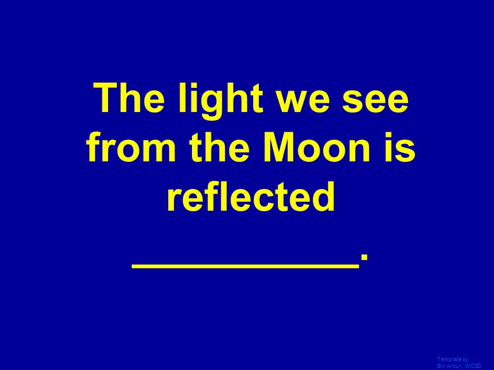 The light we see from the Moon is reflected __________.