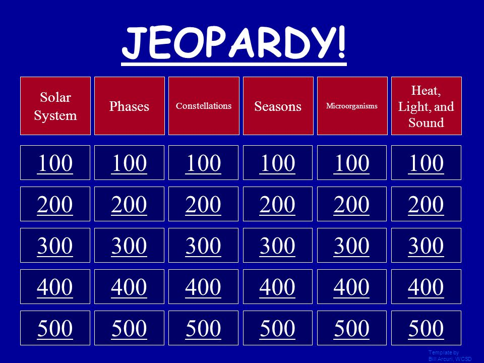 Jeopardy click once to begin template by bill arcuri for Jeopardy template with sound effects