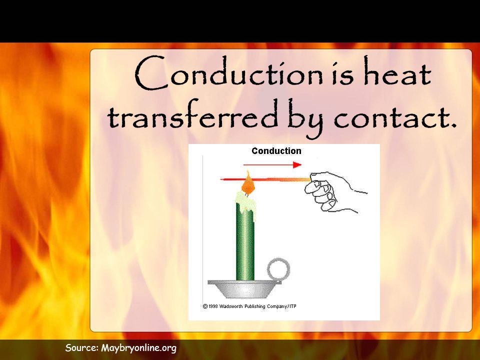 Conduction is heat transferred by contact.