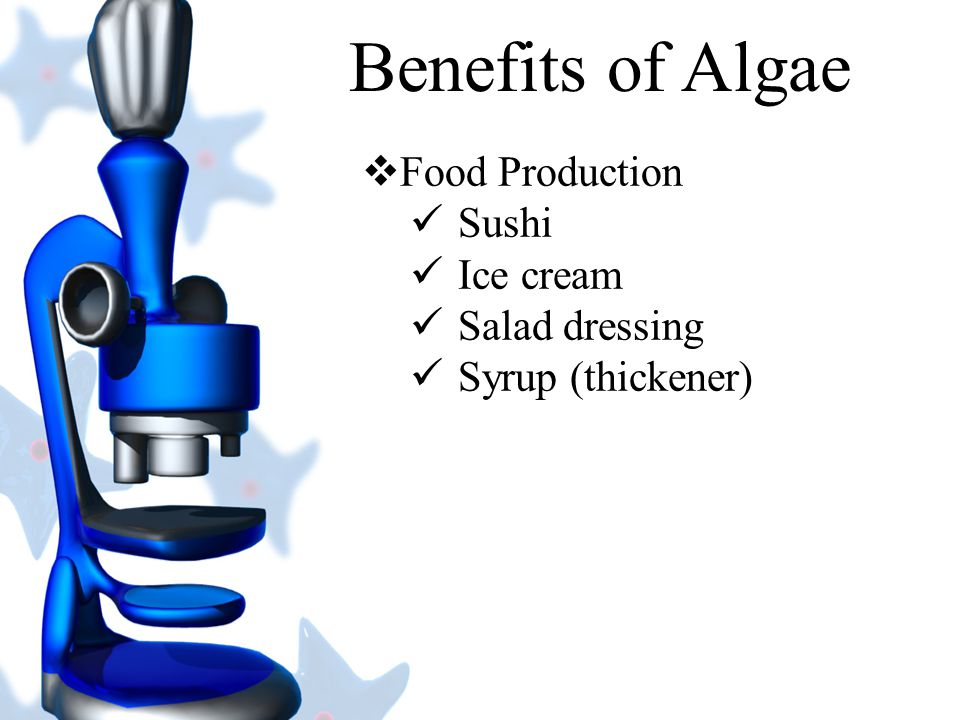 Benefits of Algae Food Production Sushi Ice cream Salad dressing