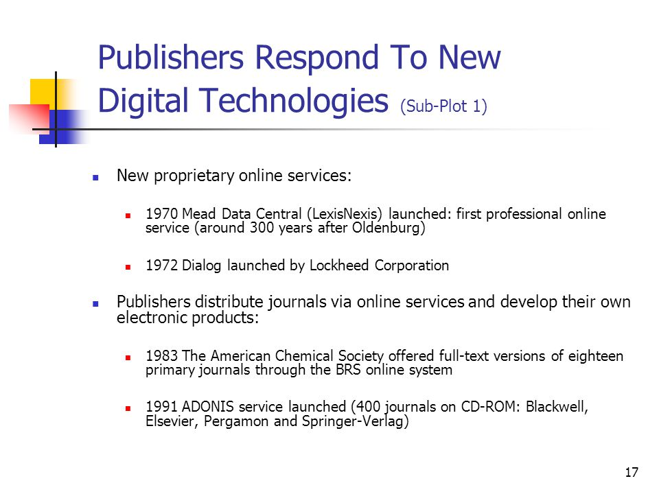Publishers Respond To New Digital Technologies (Sub-Plot 1)