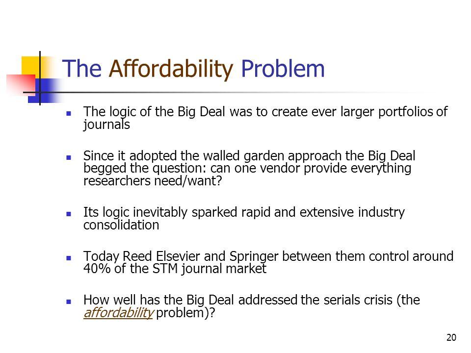 The Affordability Problem