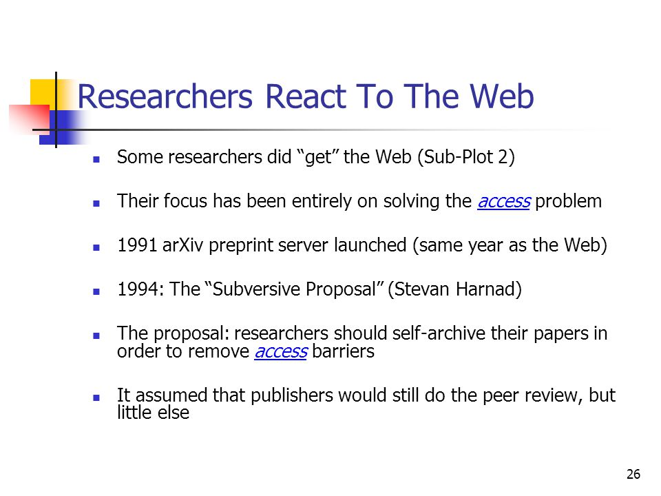 Researchers React To The Web