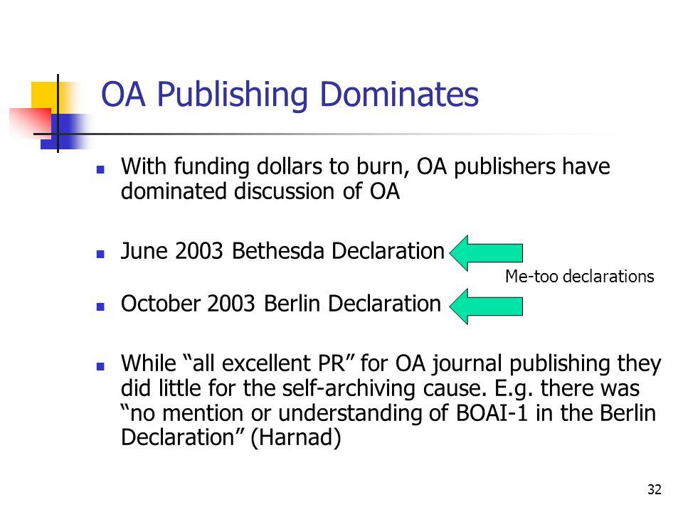 OA Publishing Dominates