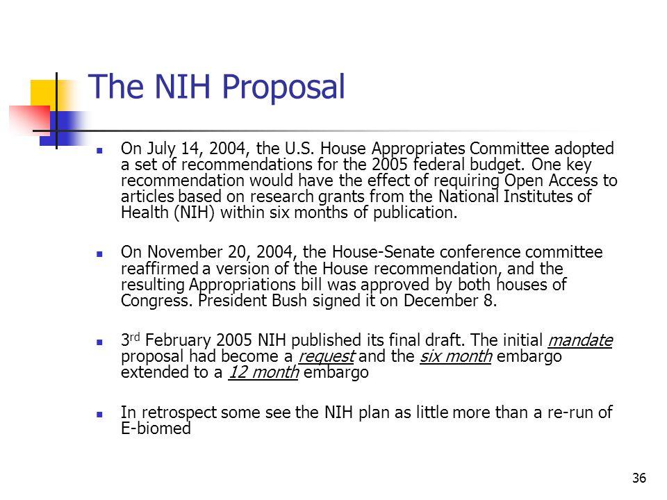 The NIH Proposal