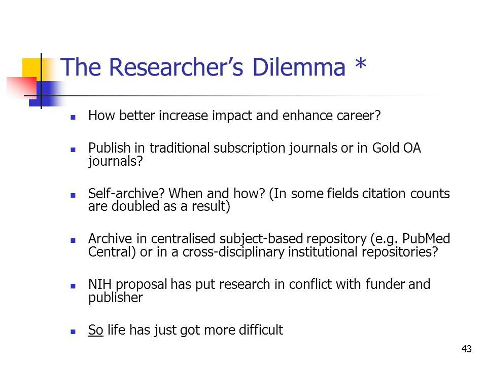 The Researcher's Dilemma *