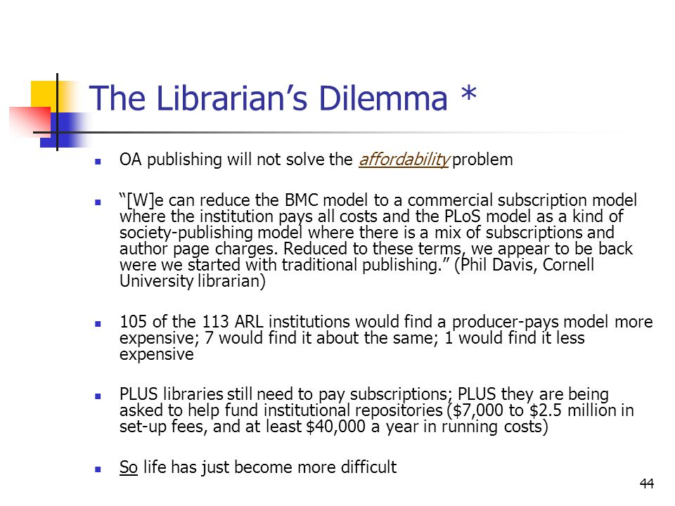 The Librarian's Dilemma *