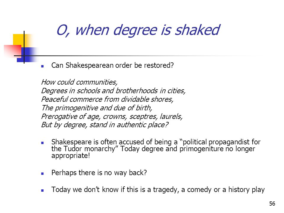 O, when degree is shaked Can Shakespearean order be restored
