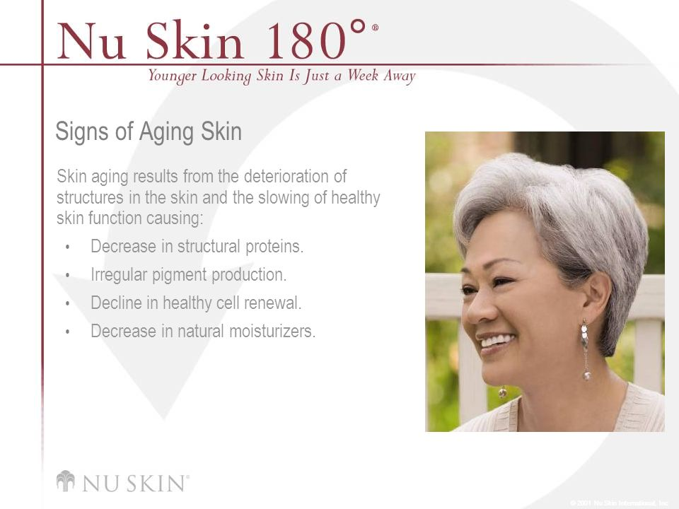 Signs of Aging Skin Skin aging results from the deterioration of structures in the skin and the slowing of healthy skin function causing: